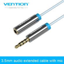 Vention 3.5 mm Jack male to female Audio Stereo Aux Extension Cable with MIC 1m/1.5m/2m/3m/5m for Headphone/PC/DVD/TV/Car