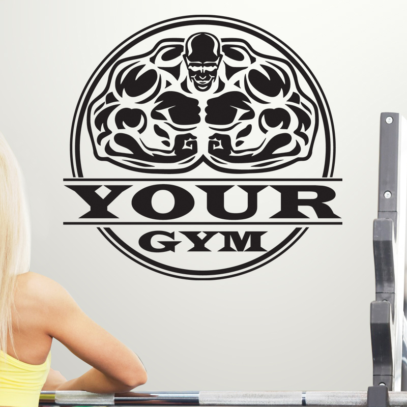 DCTAL Gym Sticker Fitness Decal Bodybuilding Posters Name Muscle Vinyl Wall Parede Decor 19 Color Choose Gym Sticker
