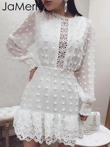Short Dress Lace Dots Party Jamerry Vintage Slim Female Sexy White Women Luxury Vestidos