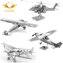 Mini Diy Fun 3D Metal Puzzle Fighter Bomber Helicopter Adult Puzzle Children Educational Model Puzzle Toy