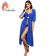 Andzhelika Swimsuit Cover Up 2017 Women Sexy Beach Cover-Ups Chiffon Long Dress Solid Beach Cardigan Bathing Suit Cover Up(China)