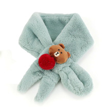 Children Unisex Short Plush Scarf Baby Bear Design Kids Autumn Winter Warm Solid Color Scarves Boys Girls WJ8537(China)