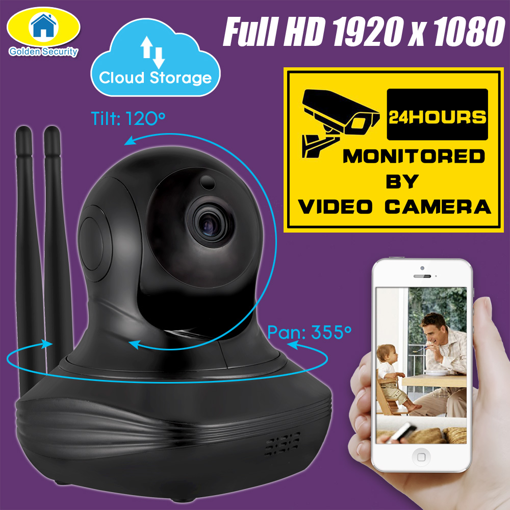 Golden Security 1080P Full HD Cloud Server Wireless WiFi Camera Security IP CCTV Camera WiFi Network Surveillance Camera Onvif<br>