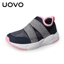 Light-weight Kids Fashion Sneakers Uovo Spring Autumn Girls Casual Shoes Soft Glitter Slip on Mesh Shoes Espadrilles Footwear(China)