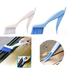 2017 New product 1PC Window Frame Door Slotted Groove Fur Brush Folding With Scraper Cleaning Brush Pennello di Pulizia(China)