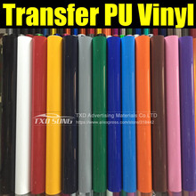 High quality PU transfer vinyl film for shirts with size:0.5x25m per roll by free shipping