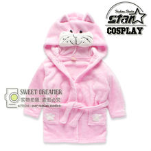 Baby Bathrobes for Children Coral Velvet Bathrobes Dressing Gown Toweling Robe Hooded Winter Cartoon Kitty Pajamas Homewear 2017(China)