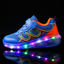 28-40PU leather Single Wheel Glowing Sneakers LED Light Shoes Boys Girls Little Kids/Big Kids Flashing Board Roller Skate Casual(China)