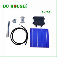 DIY 320W Panel - 80pcs 6x6 Whole Solar Cells KIT W/ Tab Wire Bus J-box Cable