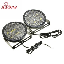 2Pcs 12V 18 LED Round Car Driving Daytime Running Light DRL Fog Lamp Bright White Car LED Offroad Work Light