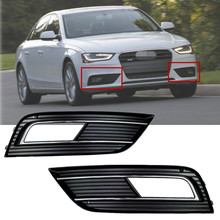 One Pair For 2013 2014 Audi A4 B9 Facelift Lower Plastic Bumper Grills With Chrome Trim Left & Right
