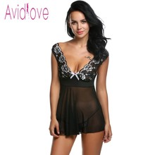 Buy Avidlove Sexy Lingerie Sexy Erotic Hot Underwear Women Mesh Lace V-neck Mini Babydoll Dress Porn Sex Wear Costumes Nightgown