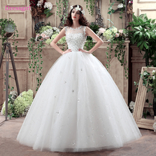 Buy Cheap Vestido De Noiva 2018 Wedding Dresses Ball Gown Tulle Flowers Beaded Sequins Boho Plus Size Wedding Gown Bridal Dresses for $107.38 in AliExpress store