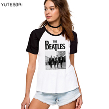 Fashion high quality ladies Clothes T-Shirts the beatles band image Designer raglan sleeve women cotton T Shirt white Tops Tees(China)