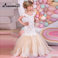 Mermaid Lace Flower Girl Dresses for Weddings 2017 Champagne Kids Evening Dress Holy Communion Dresses For Girls Pageant Gowns(China)