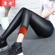 Autumn And Winter Velvet Thickening Faux Leather Legging Women's Skinny Pants Thermal Long Trousers Plus Size(China)