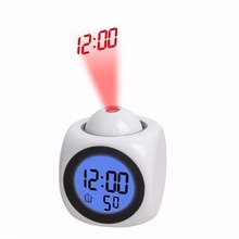 LED Projection Clock Talking Colorful Alarm Voice Clock Digital Time Temperature Display White Colors 80*80*100mm Drop Shipping