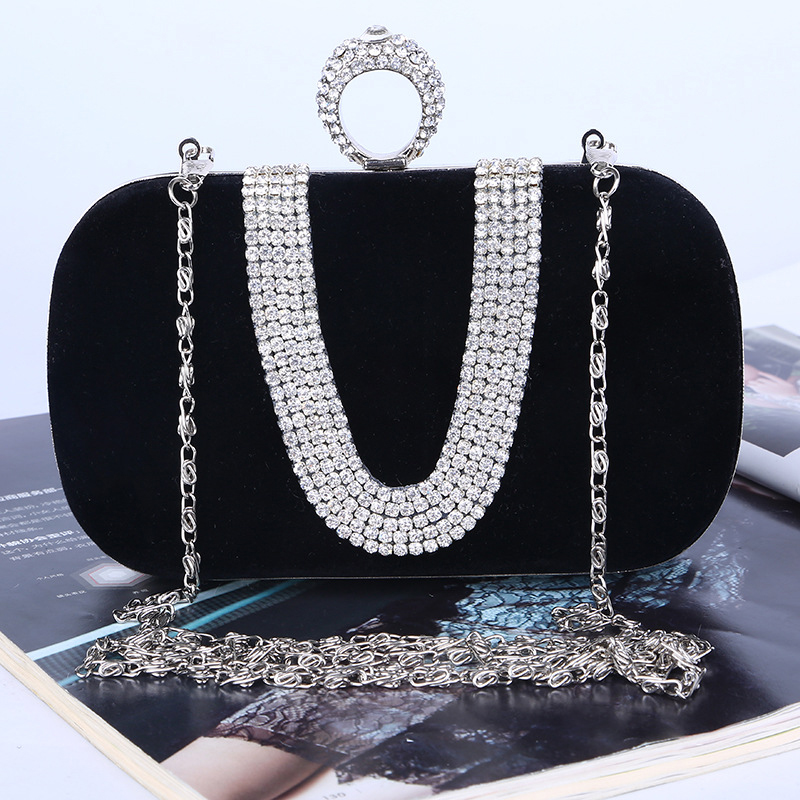 New punk finger rings rhinestones evening bags clutch purse evening women bags wedding with chain shoulder bag<br>
