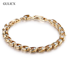 GULICX 7'' Fashion Crystal Braceltes for Women Gold-color Beautiful Wedding Bracelets Colorful Zircon Bracelet Bangle L030(China)