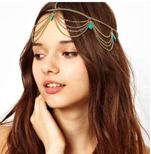 ts170 Reliable women head tassel chain jewelry party tiara headpiece hair Bohemian style hair bands 2017(China)