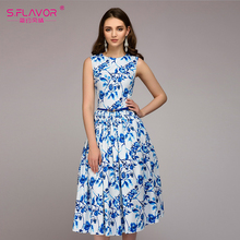 S.FLAVOR Women Summer Dress 2018 Hot sale blue printing sleeveless pleated long dress women casual Bohemian vestidos No Belt(China)