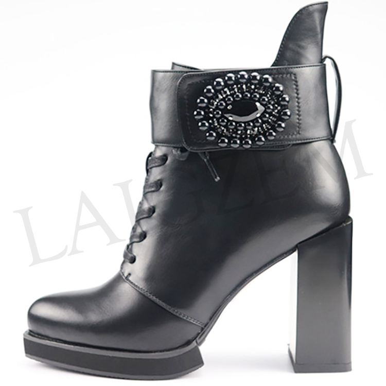 LAIGZEM NICE Women Ankle Boots Faux Leather Suede Chunky Heels Boots Zip Shoes Women Botines Mujer Ladies Sandals Size 5-41 (5)