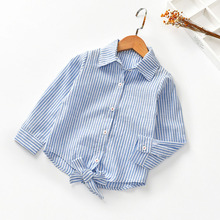 Girl Autumn Spring Striped Shirt Blouse Tops Tee Turn Down Collar All Match Princess Children Clothes Baby Kids Toddler 2-6Y