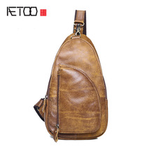 AETOO Paragraph leisure fashion men leather chest baby head layer of cowhide oblique tide bag