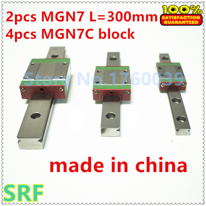 2pcs 7mm width  Miniature Linear guide rail L=300mm MGN7+4pcs MGN7C Block Carriage for CNC<br>