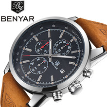 Benyar Men Watch Top Brand Luxury Male Leather Waterproof Sport Quartz Chronograph Military Wrist Watch Men Clock relogio(China)