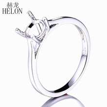 HELON 6.5MM Round Cut Solid Real 10k White Gold Engagement Wedding Semi-mount Fine Solitaire Women's Ring Setting(China)