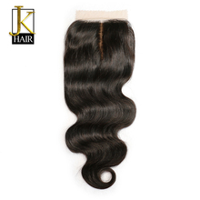 JK Hair Silk Base Closure Body Wave Remy Brazilian Human Hair 4x4 Silk Closure Middle Part Bleached Knots Free Shipping