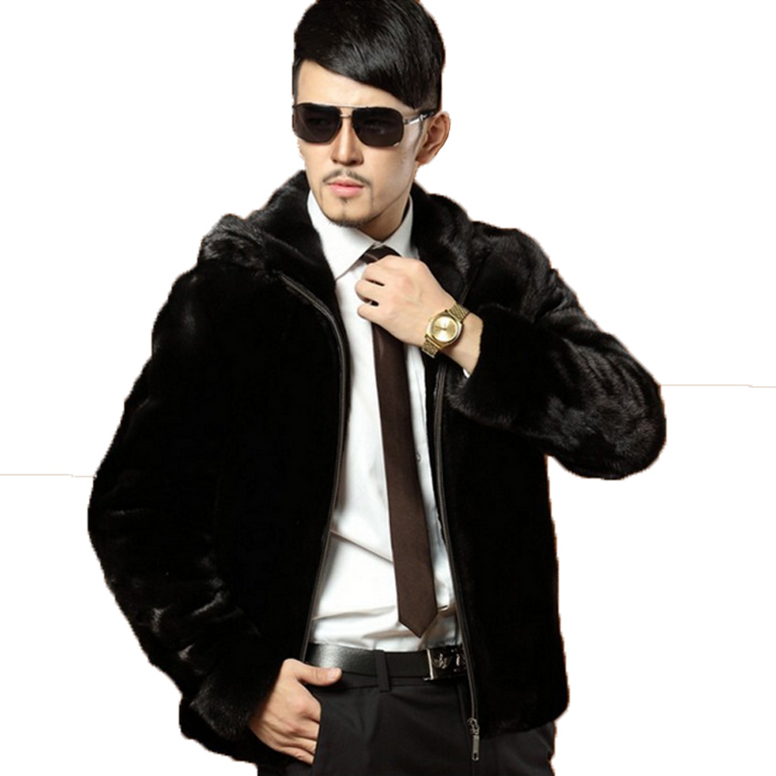 Winter Leather Suede Jacket Mens Faux Fur Coats Ho...