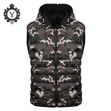 COUTUDI 2017 New Men's Vest Camouflage Winter Cotton Sleeveless Jackets Reversible Stylish Jacket Vest Warm Waterproof Down Coat(China)
