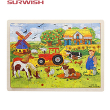 Surwish 60-Piece / set Miller's Farm Wooden Jigsaw Puzzle Baby Kids Children Educational Toy(China)