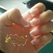 24 PCS Nail Art Tips Romantic New Girls/Bride Pre Designed French Nail Tips ABS False Nail Half Nail Tips with glue