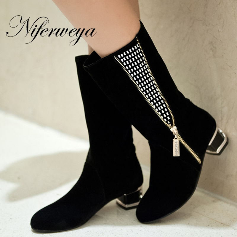 Fashion women shoes plus size 34-45 black suede Round Toe low heel boots Rhinestone decoration Slip-On Mid-Calf boots MH-738-1<br><br>Aliexpress