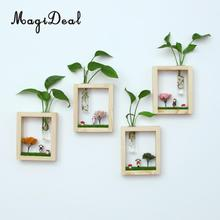 MagiDeal Glass Vase Hanging Micro landscape Test Tube Flower Hydroponic Vase In Wood Stand(China)