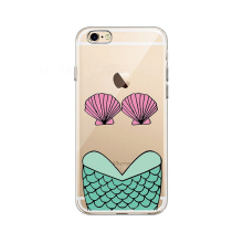 2017 Fashion fairy tale cartoon mermaid princess shell sea fish scales joy doll thin diamond clear soft tpu case For Iphone