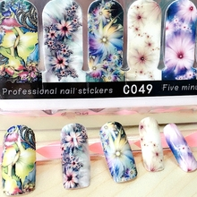 2 packs nail wraps full cover adhesive nail art stickers beauty flower decals nails decorations accessories new arrival C4950
