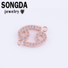 SONGDA 3 Color Charms Micro Pave CZ Constellation Series Cancer Rhinestone Connector Micro Inlaid Craft Women Jewelry DIY PL0401(China)