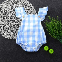 Summer 2017 Infant Newborn Girls Children Butterfly sleeves Plaid Sliders Backless Overalls Clothes  Beach Suit Outfits