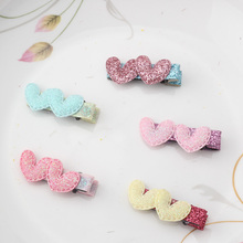 Child Lovely Hair Accessories Double Colorful Shiny PU Heart Star Hairpins Baby Hair Ornaments Hair Clip Girls Sweet Hairclips