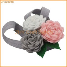 "New Arrival 30pcs/lot Three Tiny Felt Flowers 3/8"" FOE Headband For Baby Girls And Children Hairband Hair Accessories"