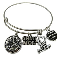 my shape Classic Women's United States Army Mom Bracelet Stainless Steel Adjustable Wire Bangle With I Love My Soldier Charms