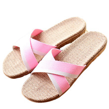 New Summer Women Flax Flip Flop Canvas Cross Linen Non-Slip Flat Sandals Home Slippers Ladies Fashion Slides Casual Straw Shoes(China)