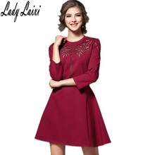 High quality 2017 Autumn new nice elegant 3/4 sleeve embroidery hollow out designer Mini dress plus size(China)