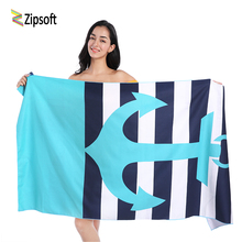 Zipsoft Brand Beach towels Microfiber Blue Anchor Larger Towel Printed Traveling Quick dry Sports Swimming Bath Camping Outdoor(China)