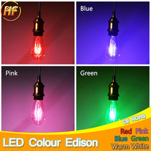 Colour Led E27 220V Filament Bulb ST64 Ampoule Led Edison Lamp Colorful Lampara Light for Home Decor Vintage Blue/Red/Pink/Green