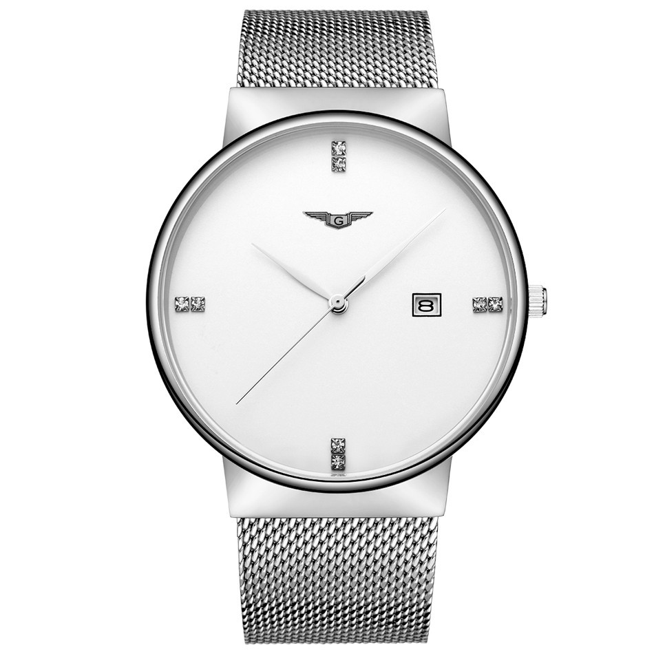 Mens Watches Top Brand Luxury GUANQIN Mens Watch Simple Casual Stainless Steel Quartz Watch Date Waterproof Wristwatch saat<br>